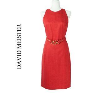 David Meister Red Sheath Dress